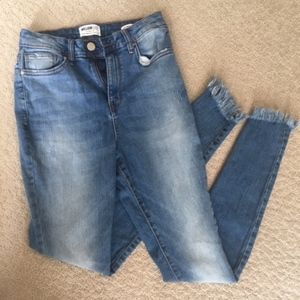 High Waisted Light Wash Denim Blue Jeans